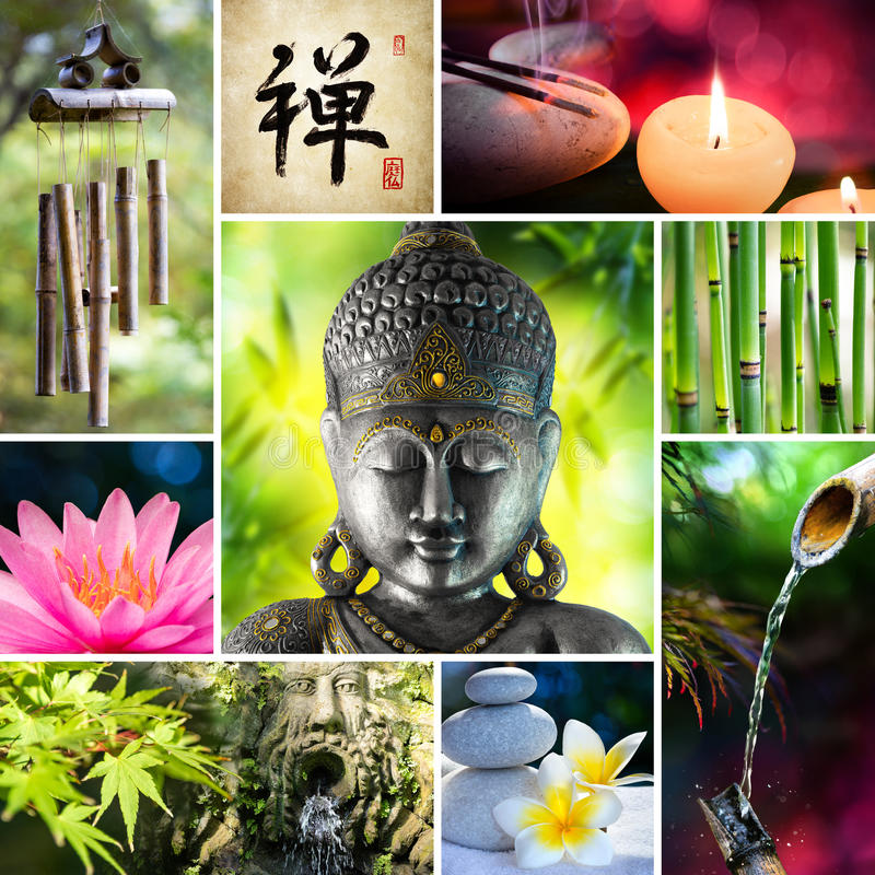 Collage Zen - Aziatisch Mozaïek royalty-vrije stock foto's