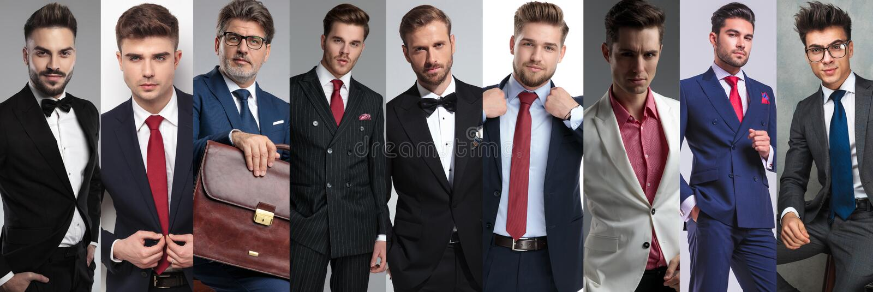 Collagebeeld van negen verschillende toevallige mensen die kostuums dragen royalty-vrije stock foto's