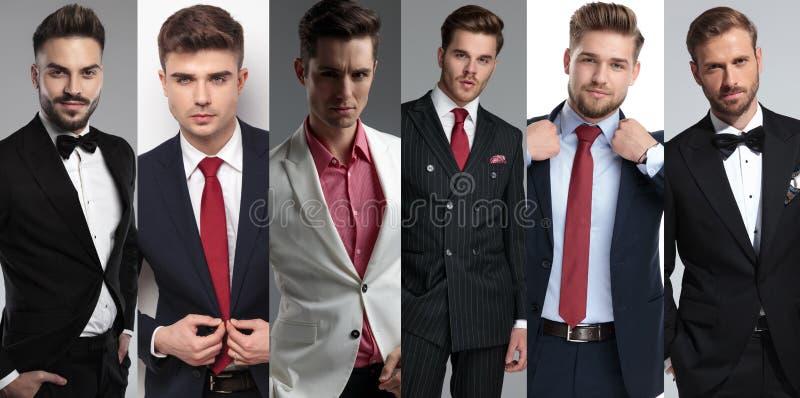 Collagebeeld van zes verschillende elegante jonge mensen die kostuums dragen stock afbeelding