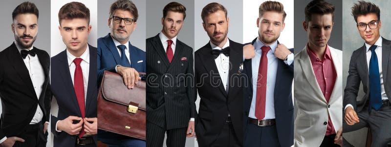 Collagebild av åtta olika stiliga män royaltyfri fotografi