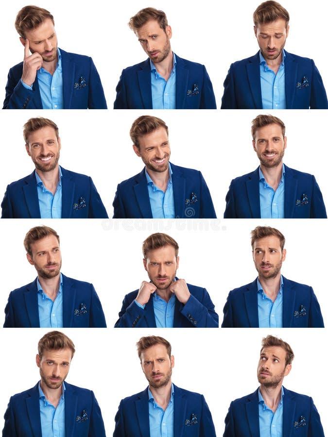 Collagebild av 12 bilder av den samma eleganta mannen royaltyfria bilder