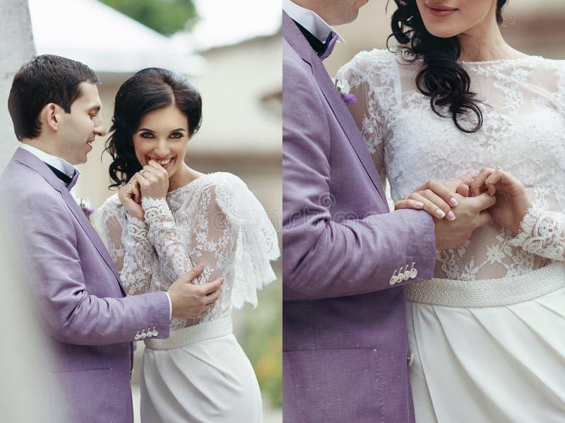 Collagebild av den lyckliga bruden och brudgummen som ler och rymmer han arkivbild