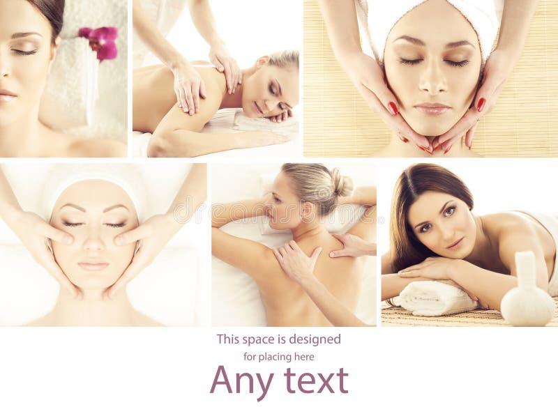 collagebilder ställde in brunnsorttema Olika typer av massagen och skincare över isolat arkivfoto