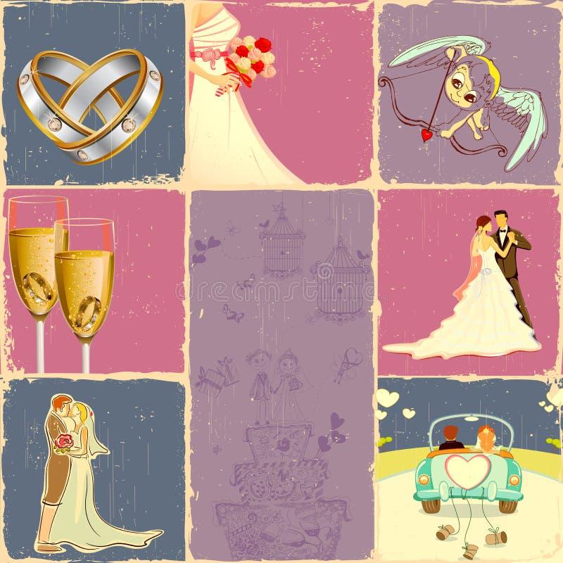 collagebröllop stock illustrationer