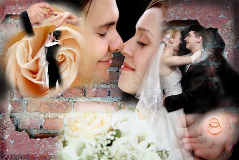 collagebröllop arkivbilder