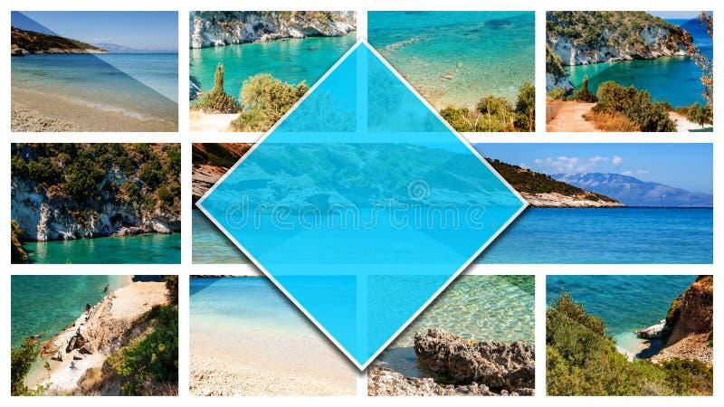 Collagefoto av Altea, Spanien, i 16: format 9 Stad på den medelhavs- kusten av den vita kusten, en turist- destination i Spai royaltyfri bild