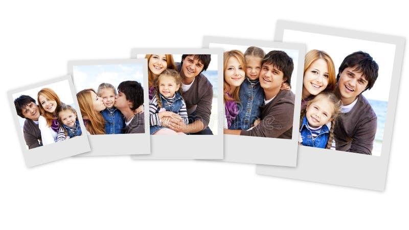 Collagefoto av den unga familjen royaltyfri bild