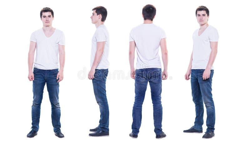 Collagefoto av en ung man i den isolerade vita t-skjortan arkivbild