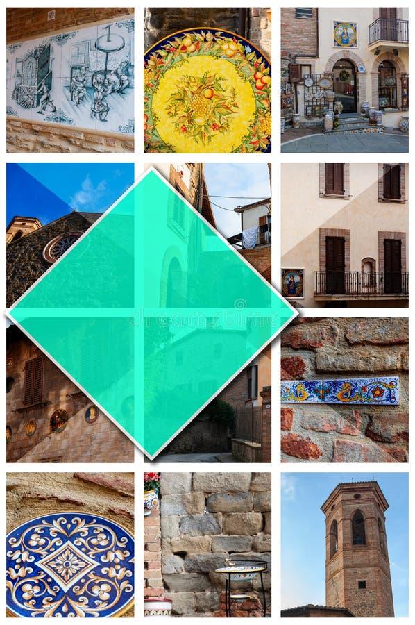 Collagefoto's van Deruta - Italië, in 2:3formaat stock afbeelding