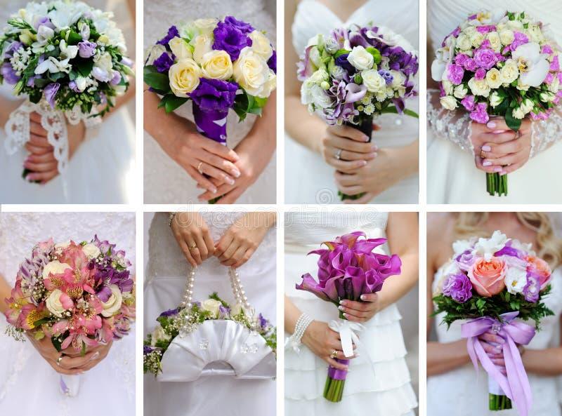 Collagefoto's van huwelijksboeketten in handen van bruid royalty-vrije stock foto's
