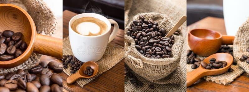 Collagefoto's van koffie royalty-vrije stock afbeeldingen