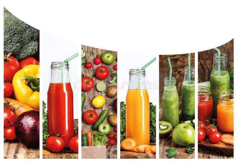 Collagefronbilderna av flaskor med fruktsafter för ny grönsak på trätabellen royaltyfri foto