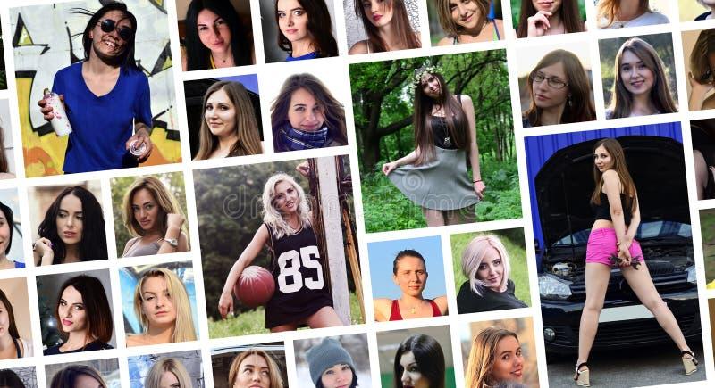 Collagegruppstående av unga caucasian flickor för social medi royaltyfria foton