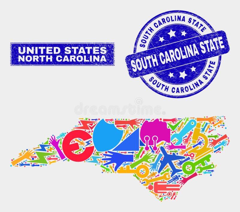 Collagehjälpmedel norr Carolina State Map och nödläge södra Carolina State Watermark stock illustrationer