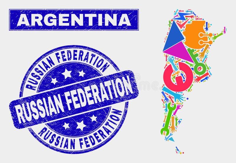 CollagehjälpmedelArgentina översikt och vattenstämpel för rysk federation för Grunge royaltyfri illustrationer