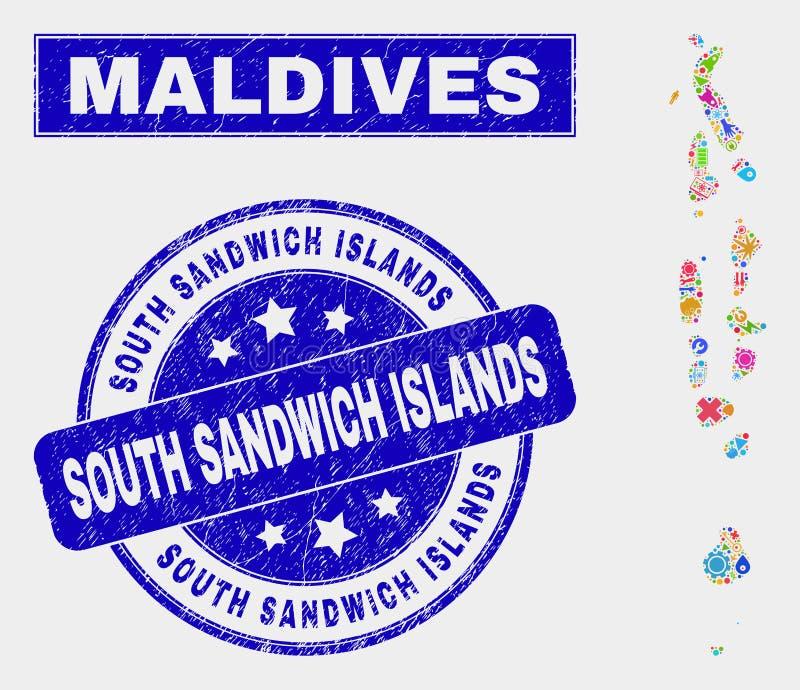 CollagehjälpmedelMaldiverna översikt och att bedröva vattenstämpeln för öar för södra smörgås vektor illustrationer