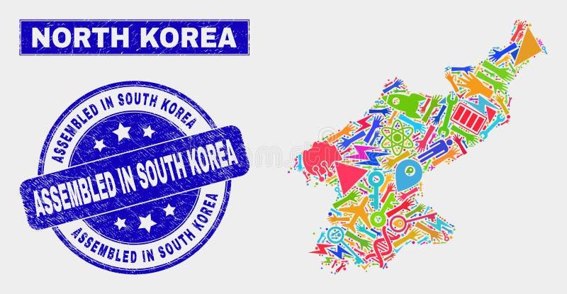 CollagehjälpmedelNordkorea översikt och nödläge monterade i Sydkorea stämpelskyddsremsa vektor illustrationer
