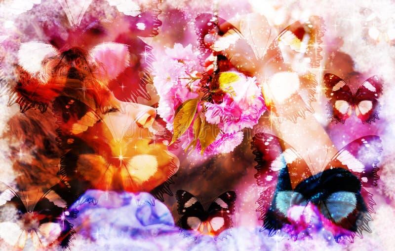 Collageillustrationen av en färgrik fjäril med kvinnan och rosa färger blommar, det blandade medlet stock illustrationer