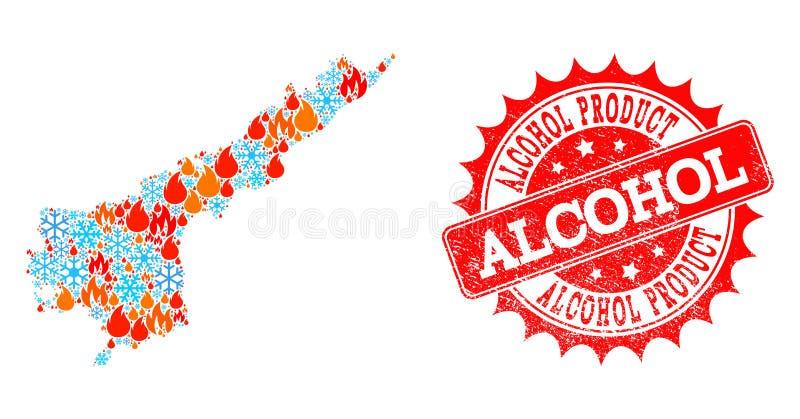 Collagekaart van Andhra Pradesh State van Vlam en Sneeuw en Alcohol de Verbinding van Productgrunge vector illustratie