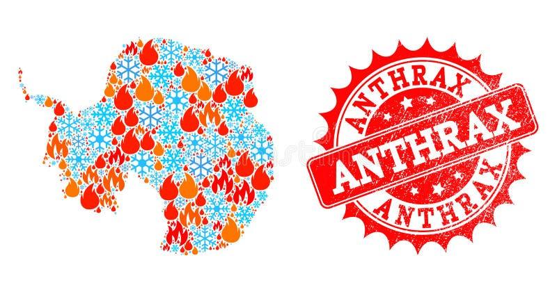 Collagekaart van Antarctica van Vlam en Sneeuw en Bloedzweer de Verbinding van Grunge vector illustratie
