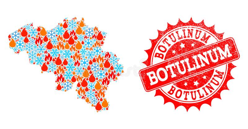 Collagekaart van België van Brand en Sneeuw en Botulinum Noodverbinding stock illustratie