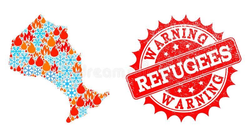 Collagekaart van de Provincie van Ontario van Vlam en Sneeuw en Vluchtelingen die Gekraste Verbinding waarschuwen royalty-vrije illustratie