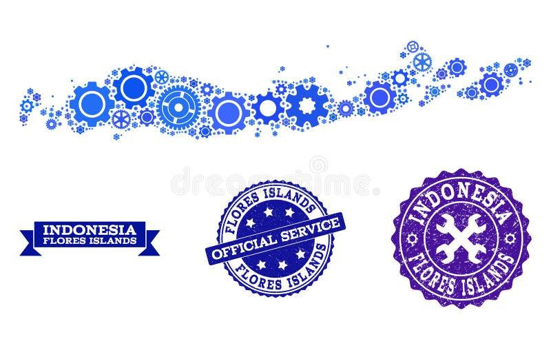 Collagekaart van Indonesië - Flores-Eilanden met Toestellen en Grunge-Zegels voor de Dienst vector illustratie