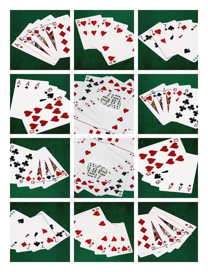 Collagekort av pokerhänder, kombination för bra lycka royaltyfri bild
