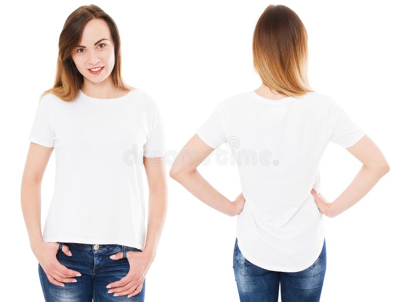 Collagekvinna i sommartshirten som isoleras på vit bakgrund, fastställd flicka i t-skjortan, mellanrum, kopieringsutrymme fotografering för bildbyråer