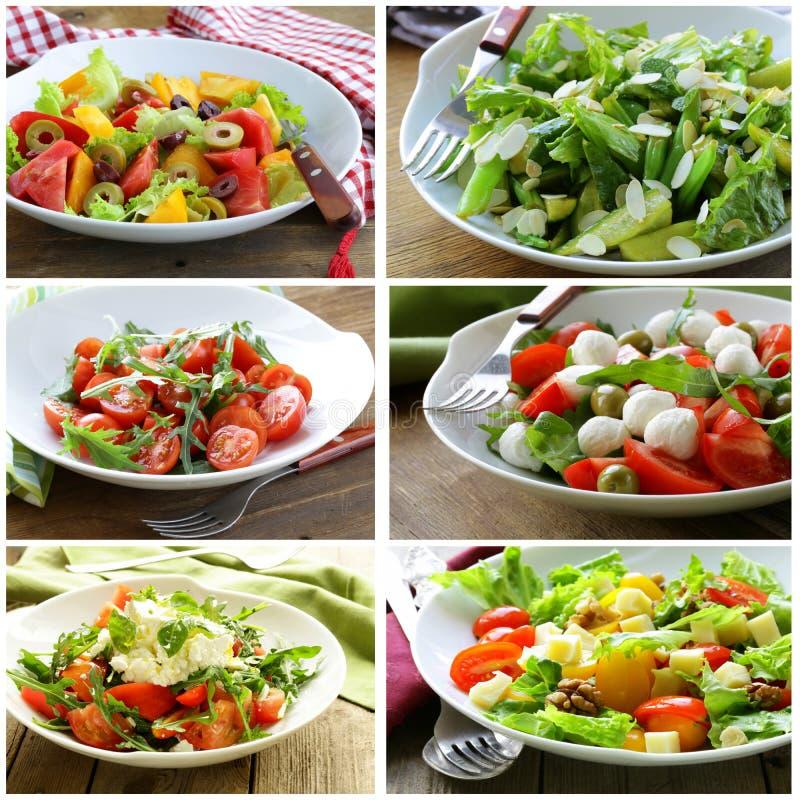 Collagemenysallader med grönsaker, ost fotografering för bildbyråer
