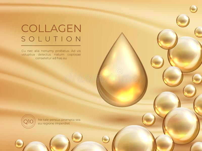 Collagen background. Cosmetic skin care ad banner, beauty essence and luxury face mask concept. Vector collagen serum stock illustration