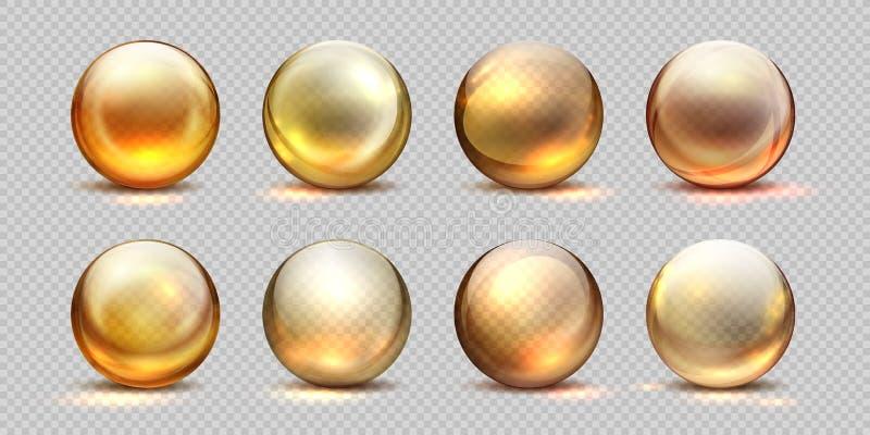Collagen golden balls. Realistic cosmetic oil, liquid serum drop, transparent isolated 3D pills. Vector yellow collagen stock illustration
