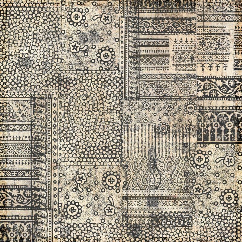 Collagen-Hintergrundauslegung des Batiks Hand gestempelte stockfoto