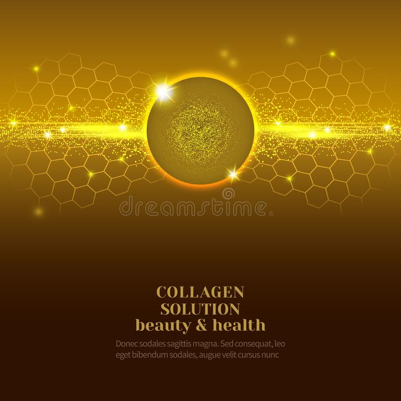 Collagen serum droplets. Vector Illustration of gold oil bubbles on precious background.Collagen emulsion in water. Gold serum droplets.Package design cosmetic stock illustration