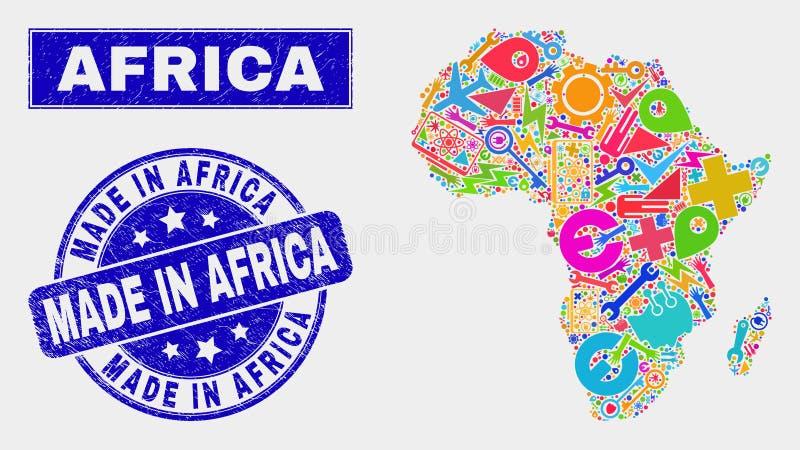 Collagen-Service-Afrika-Karte und -bedrängnis gemacht in Afrika-Dichtung stock abbildung