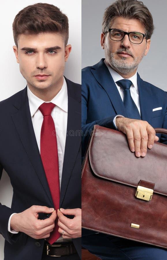 Collagenbild eines jungen Kerls und des älteren Geschäftsmannes lizenzfreie stockfotos