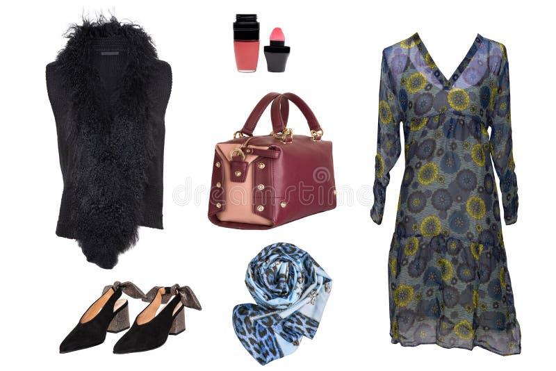 Collagenfrauenkleidung Stellen Sie von stilvollem ein und luxuriöse modische Frauen kleiden, Pelzjacke, Schuhe an Handtasche und  lizenzfreies stockbild