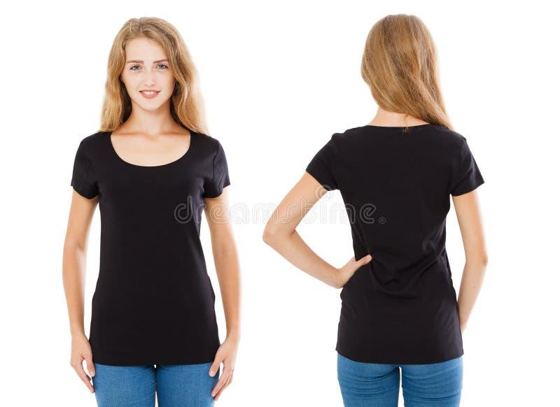 Collagenhemd, Lächelnfrau im schwarzen T-Shirt lokalisiert auf dem weißen Hintergrund, leer stockfotografie