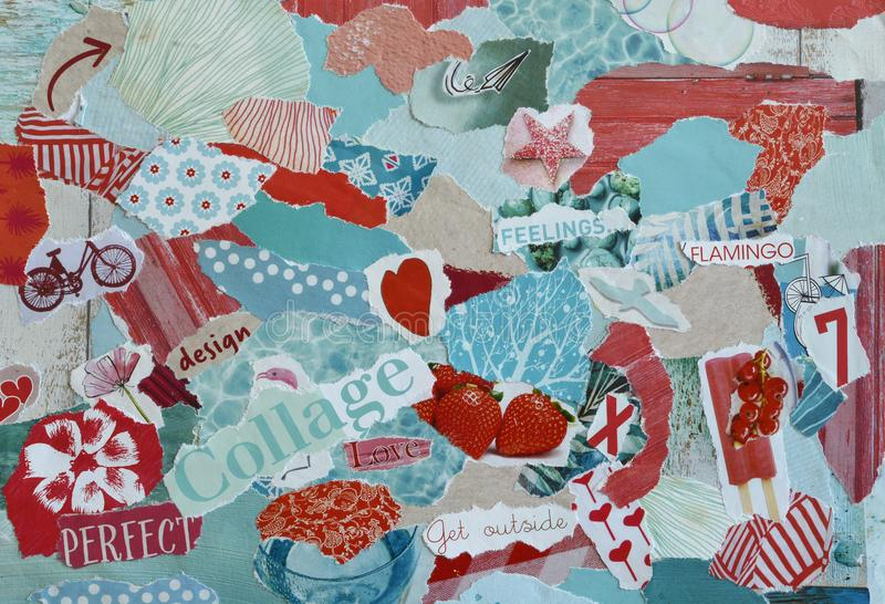 Collagenstimmungsbrett mit den blauen, roten, rosa Farben mit Herzen, den Früchten, den Blumen und den Drucken lizenzfreies stockbild