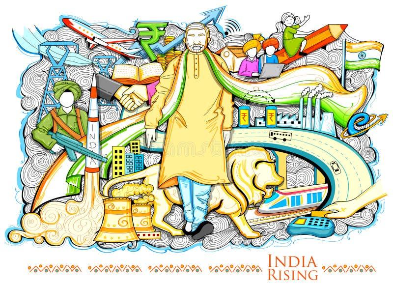Collagenvertretung Fortschritt und Entwicklung, die Indien-Steigen darstellen stock abbildung