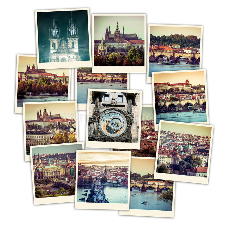 CollagePrague sikt arkivbild