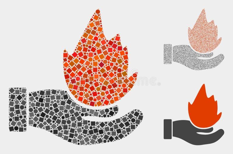 Collages d'icône de main de brûlure des places et des cercles illustration stock