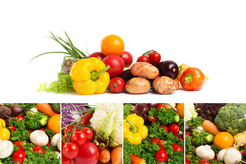Collages of fresh vegetables stock image