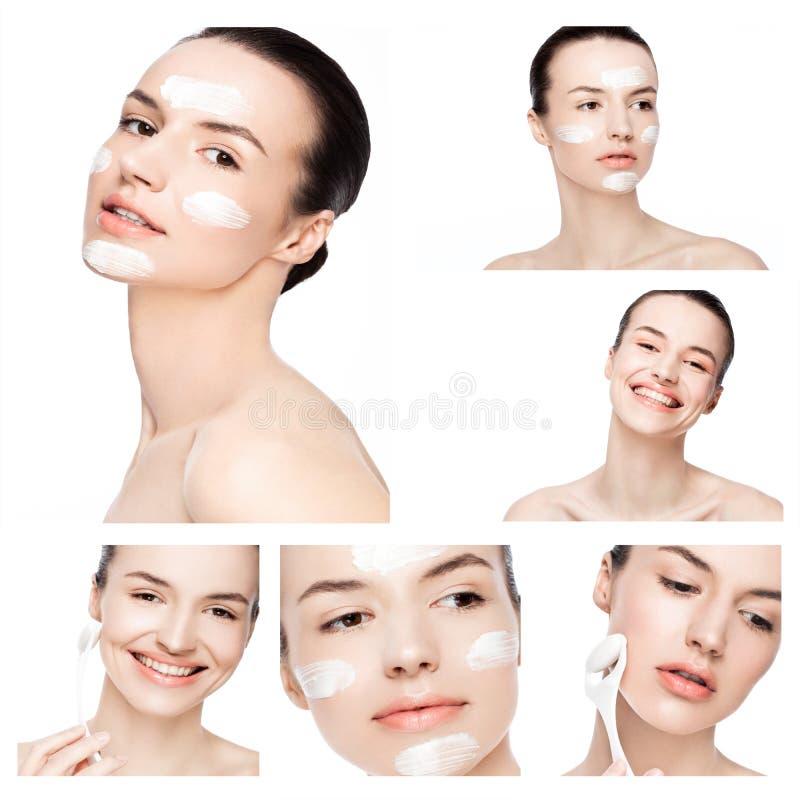 Collageskönhetflicka med naturlig makeup för framsidakräm arkivfoto