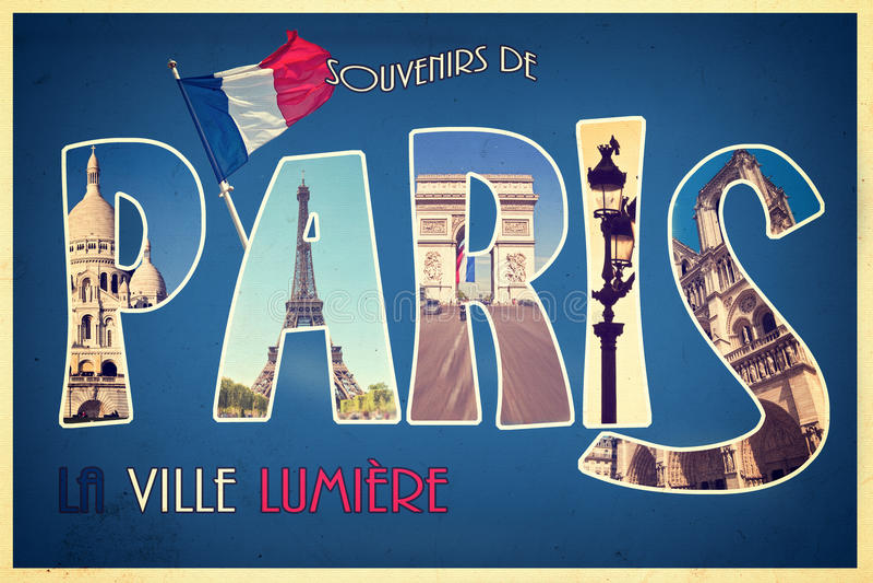 Collagesouvenir de PARIS, lavillelumiere, retro vykortstil, tappningproces stock illustrationer