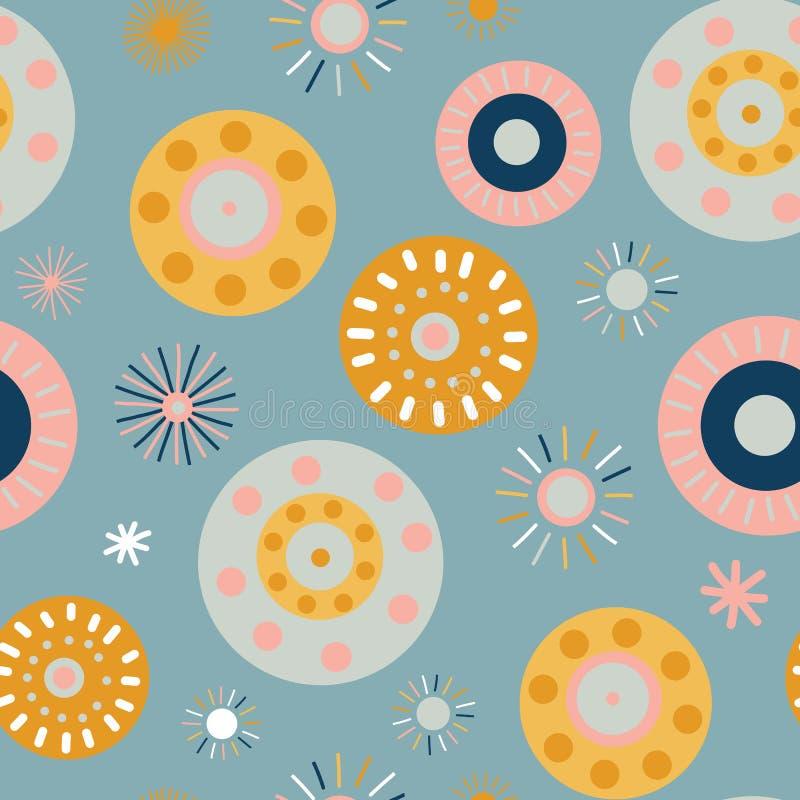 Collagestil cirklar sömlös vektorbakgrund Moderna plana skandinaviska stilprickar Abstrakta rosa rundaformer, korall, guld, stock illustrationer