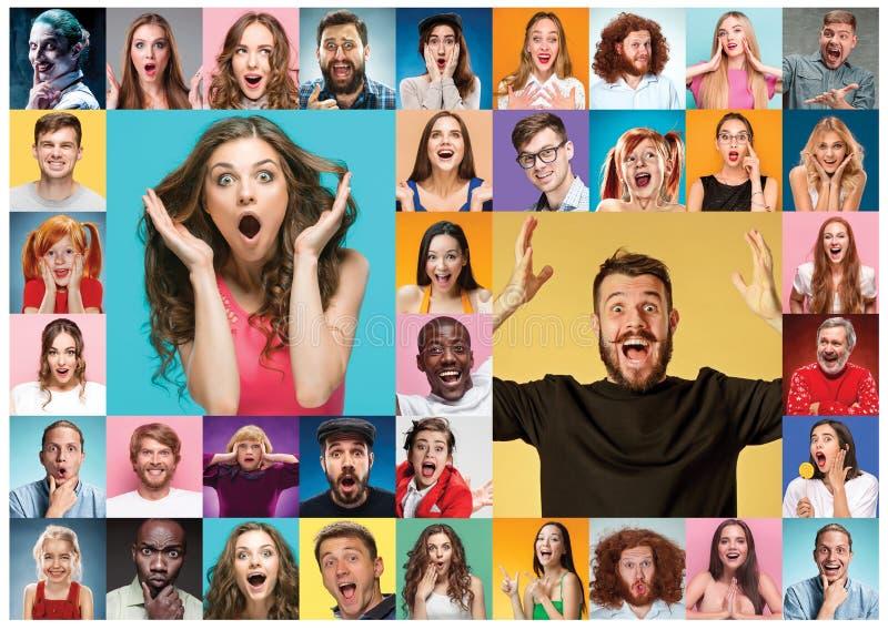 Collaget av förvånat folk arkivbilder