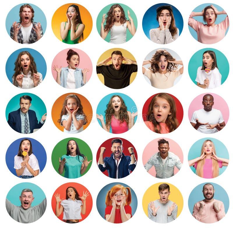 Collaget av förvånat folk royaltyfri bild