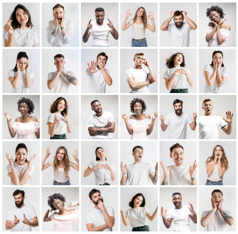Collaget av framsidor av förvånat folk på vita bakgrunder royaltyfri foto