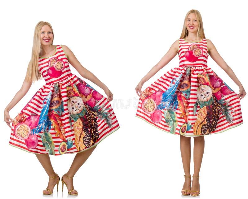 Collaget av kvinnan i modeblick som isoleras på vit arkivbilder